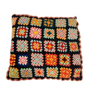 Vintage Granny Square Rainbow Colors decor Pillow